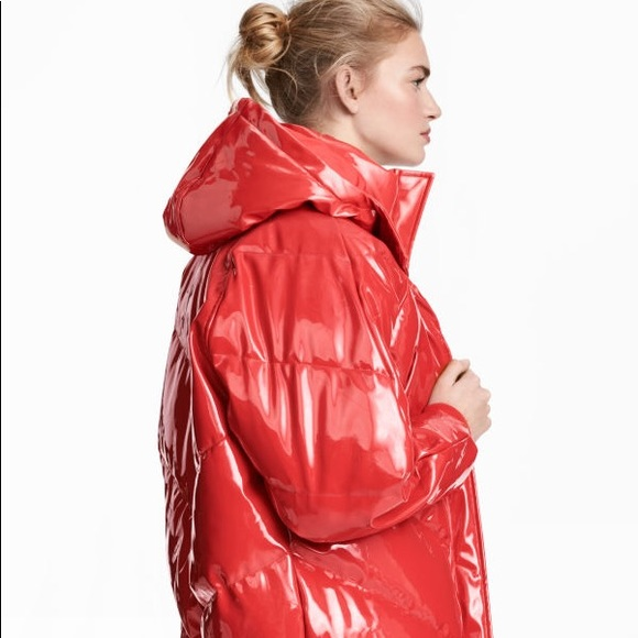 hot-selling discount hot-selling authentic better price H&M Red Patent Puffer Jacket